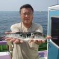 2008.9.13   39cmのトラフグを釣った石井さん!