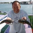 2008.10.2(木) 32cmのショウサイと30cmのアカメを釣った森江さん!