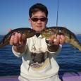 2008.11.23(日) 34cmと31cmのアカメを釣った山内さん!