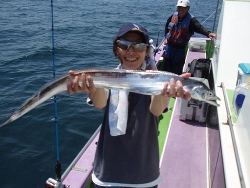 2008.8.7   本日最大95cmを含む40匹を釣った長尾光代さん!